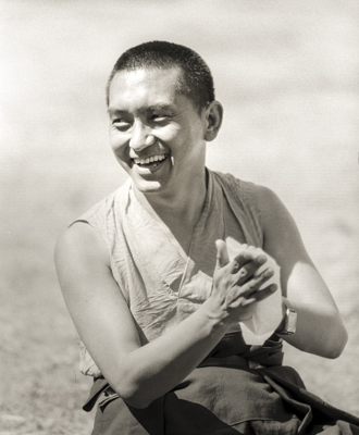 Lama Zopa Rinpoche at Waterlow Park, London, 1983. Photo: Robin Bath.