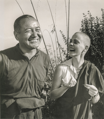 Lama Yeshe with Ven. Connie Miller at Kopan Monastery, Nepal.