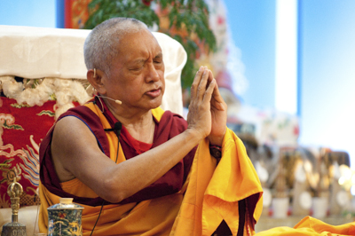 Lama Zopa Rinpoche at Maitripa College, 2010. Photo by Marc Sakamoto.