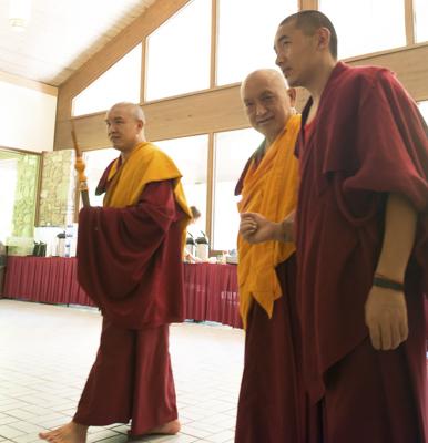 Lama Zopa Rinpoche at Light of the Path, North Carolina, 2014. Photo by Roy Harvey.