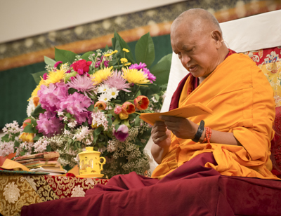 Light of the Path retreat with Lama Zopa Rinpoche, North Carolina, 2014. Photo: Roy Harvey.