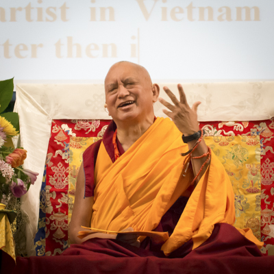 Lama Zopa Rinpoche at the Light of the Path Retreat, USA, 2014. Photo: Roy Harvey