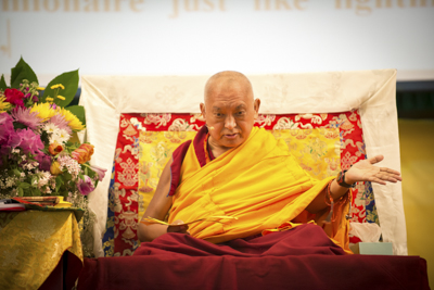 Lama Zopa Rinpoche at the Light of the Path retreat in North Carolina, spring 2014. Photo by Roy Harvey.
