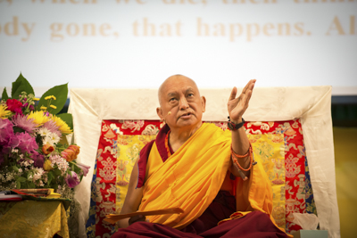Lama Zopa Rinpoche at Light of the Path retreat in North Carolina 2014. Photo: Roy Harvey.