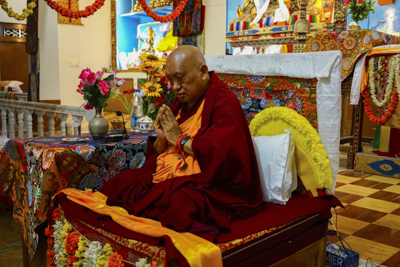 Lama Zopa Rinpoche at Sera Je Monastery, Mysore, India, 2013-2014. Photo: Bill Kane.