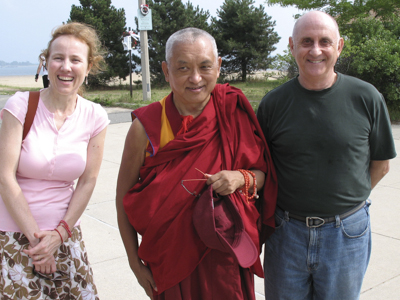 Wendy Cook, Lama Zopa Rinpoche and Nick Ribush in South Boston, July 2007.