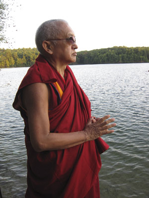 Lama Zopa Rinpoche blessing Walden Pond, Massachusetts, 2010.