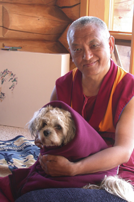 Lama Zopa Rinpoche at Buddha Amitabha Pure Land, Washington State, USA, 2003.