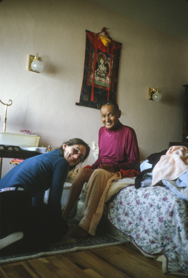 Lama Yeshe with Shirley Begley, one of his nurses, shortly before his death, California, 1984. Photo by Lama Zopa Rinpoche.