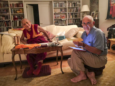 Lama Zopa Rinpoche and Nick Ribush in New York City, August 2015.