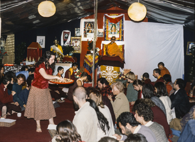 Puja at Istituto Lama Tzong Khapa with Zong Rinpoche, Italy, 1978.