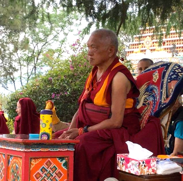 Rinpoche at Kopan April 2015. Photo: Ven Sarah Thresher.