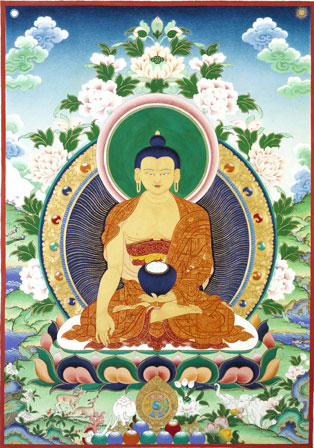 Guru Shakyamuni Buddha. Painted by Jane Seidlitz.