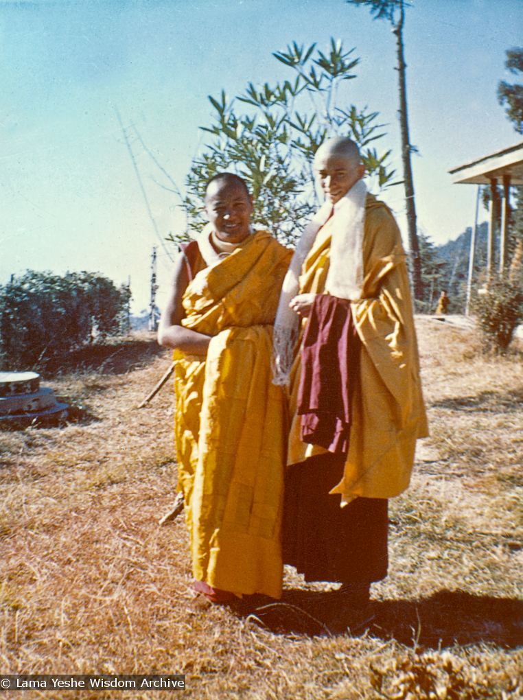(00601_ud-2.psd) Lama Yeshe and Anila Ann after the first ordination of western students, 1970