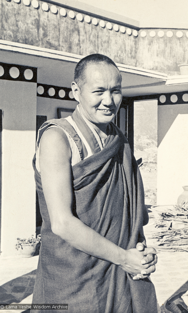 (00608_ud-2.psd) Portrait of Lama Yeshe on the roof at Kopan Monastery, Nepal, 1974.