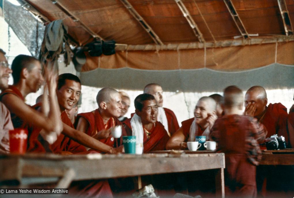 (00623_ud-2.psd) Lama Zopa Rinpoche and new monastics including Mother of Lama Zopa, Ama-la and Wongmo Thubten (Feather Meston) having tea in Bodhgaya, India, 1974.