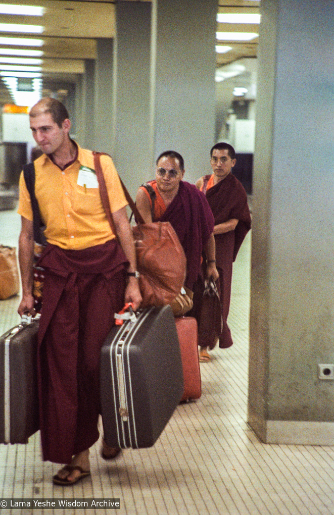 (03766_ng-3.JPG) Piero Cerri traveling with Lama Yeshe and Lama Zopa Rinpoche, 1979. Jan-Paul Kool (photographer)