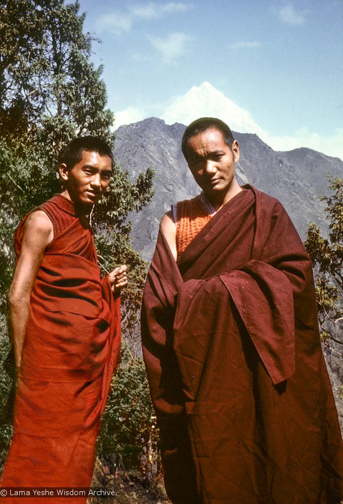 (04379_sl-2.psd) Lama Zopa Rinpoche  and Lama Yeshe near Lawudo Retreat Center, 1970. Photo by Terry Clifford.