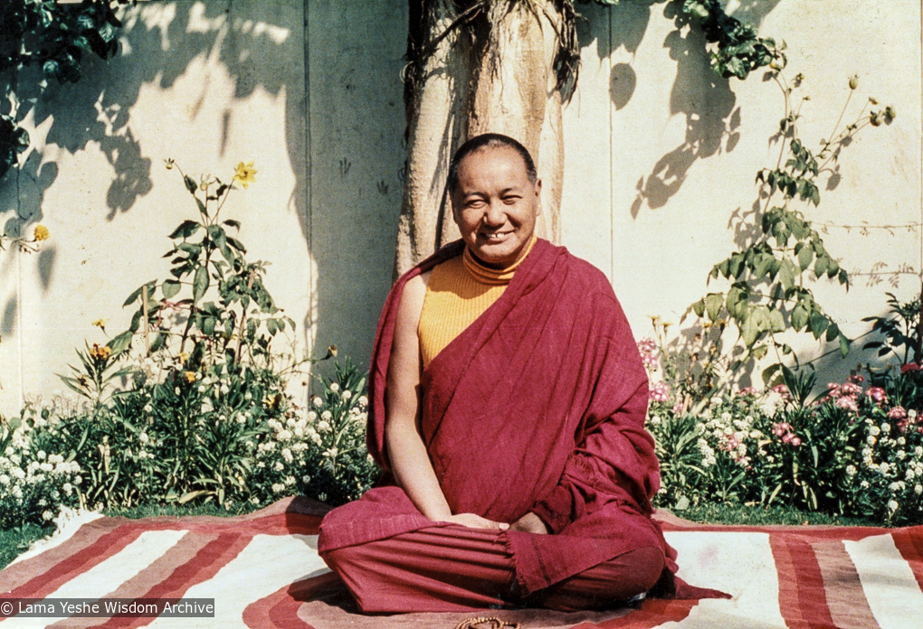(04510_pr.JPG) Lama Yeshe in the front yard of Tushita Mahayana Meditation Centre (also called Tushita-Delhi), Shantiniketan, India, 1979. Roger Kunsang (photographer)