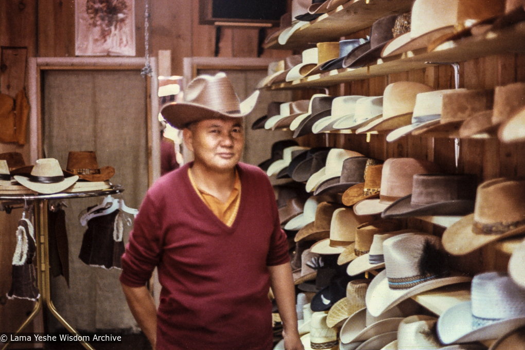 (04599_pr-3.psd) Lama Yeshe in the cowboy hat store, Reno, Nevada, 1980.