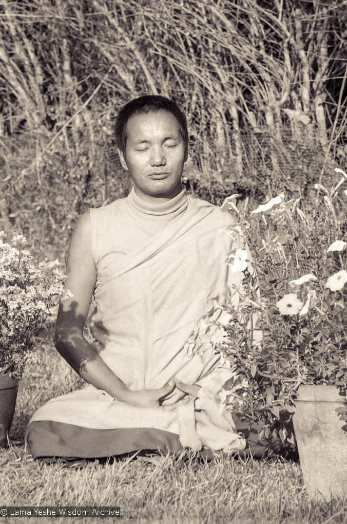 Lama Yeshe at the end of the first meditation course, Kopan Monastery, Nepal, 1971.