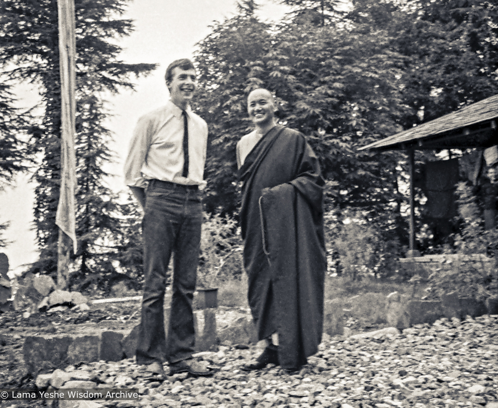 """Peter Kedge and Lama Yeshe, Tushita Meditation Center, 1973.    """"Tushita was truly a place for retreat, with Ling Rinpoche and Geshe Rabten as neighbors and other geshes engaged in retreats for years at a time living on the property itself."""""""