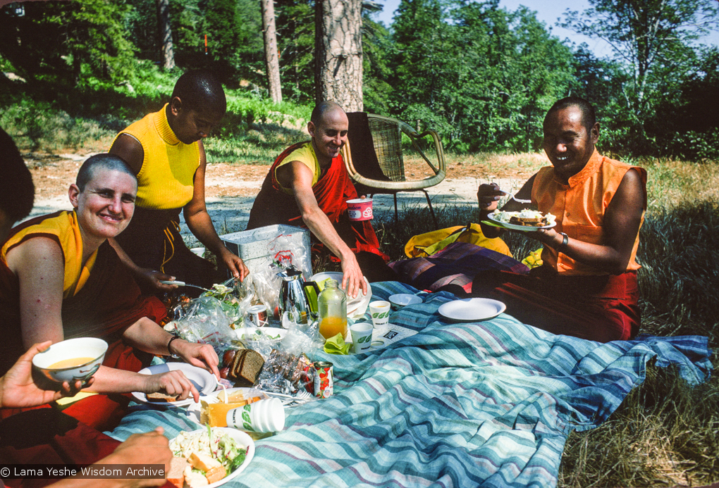 (12645_sl.jpg) Picnic with the lamas, Lake Arrowhead, 1975. From left to right: Thubten Wongmo (Feather Meston), Max Mathews, Nick Ribush, and Lama Yeshe. This photo is from a three week retreat the lamas taught at Camp Arrowpines on Lake Arrowhead, east of Los Angeles, USA, 1975. Photo by Carol Royce-Wilder.