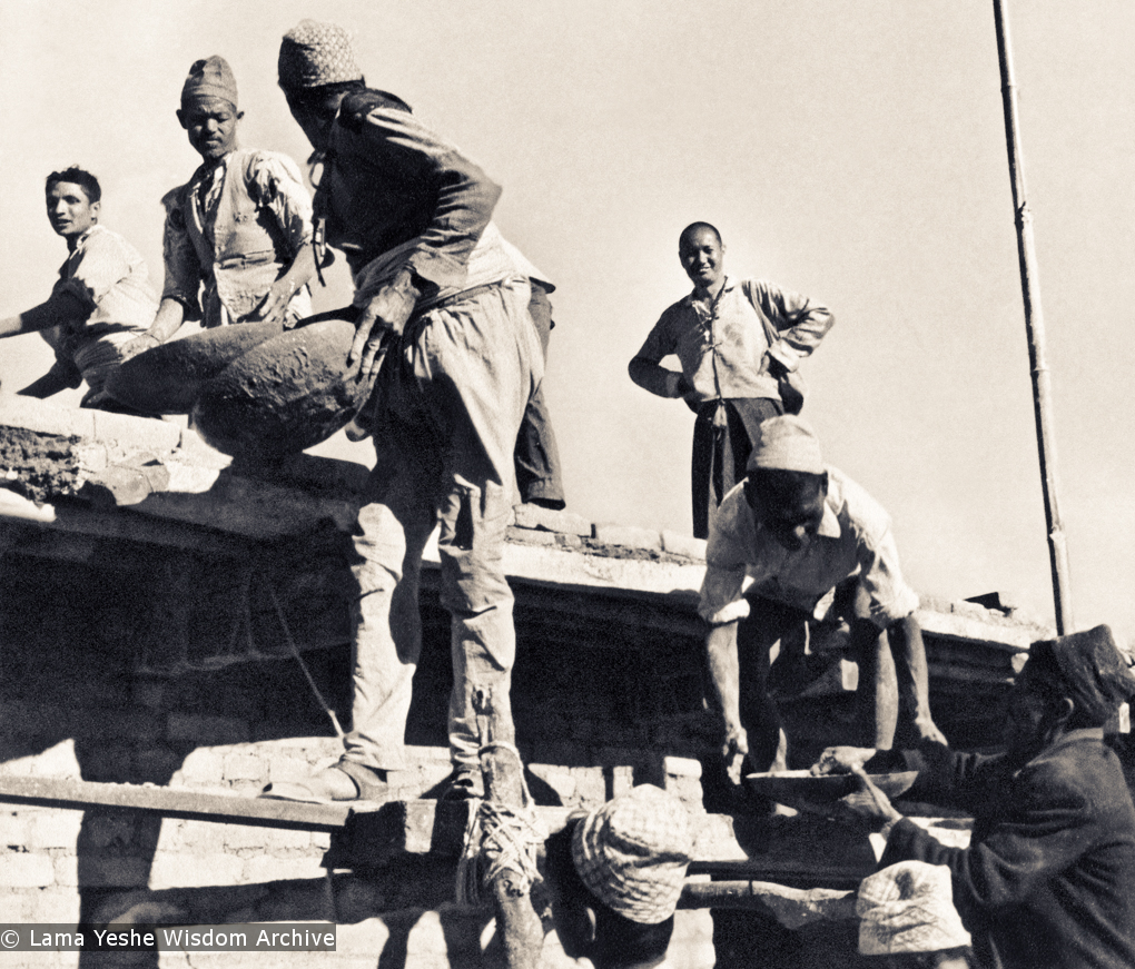 (15044_pr.jpg) Lama Yeshe on the roof acting as foreman and supervising the construction of Kopan, 1972. Kopan Monastery, built in Nepal, is the first major teaching center founded by Lama Yeshe and Lama Zopa Rinpoche.