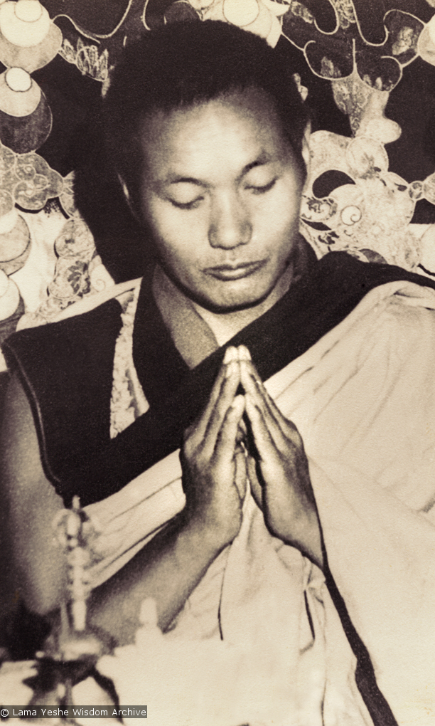"(15066_pr-2.psd) Lama Yeshe doing puja (spiritual practice) in the ""old gompa"" (shrine room), Kopan Monastery, 1970."