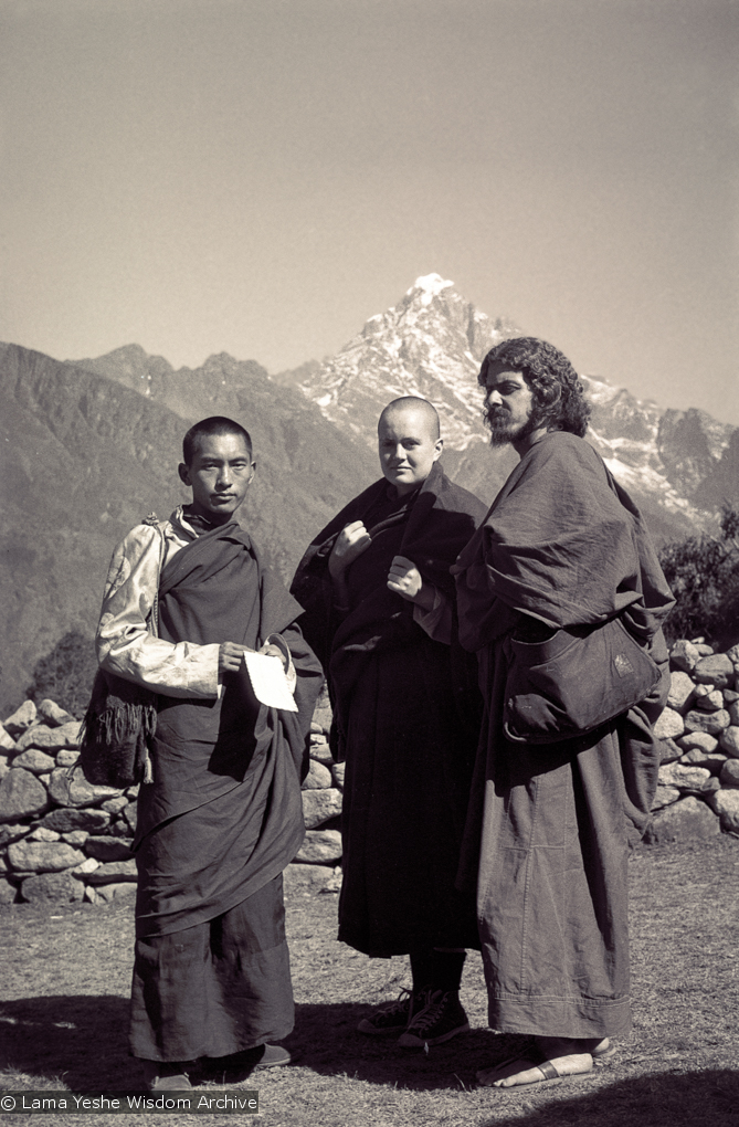 (15080_ng-3.psd) Lama Zopa Rinpoche, Tsultrim Allione and Jean Michael Cerveau, Lawudo, 1970. Photo by Terry Clifford.