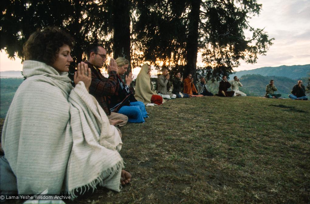 Dharma students meditating on Kopan Hill, Nepal, 1971.