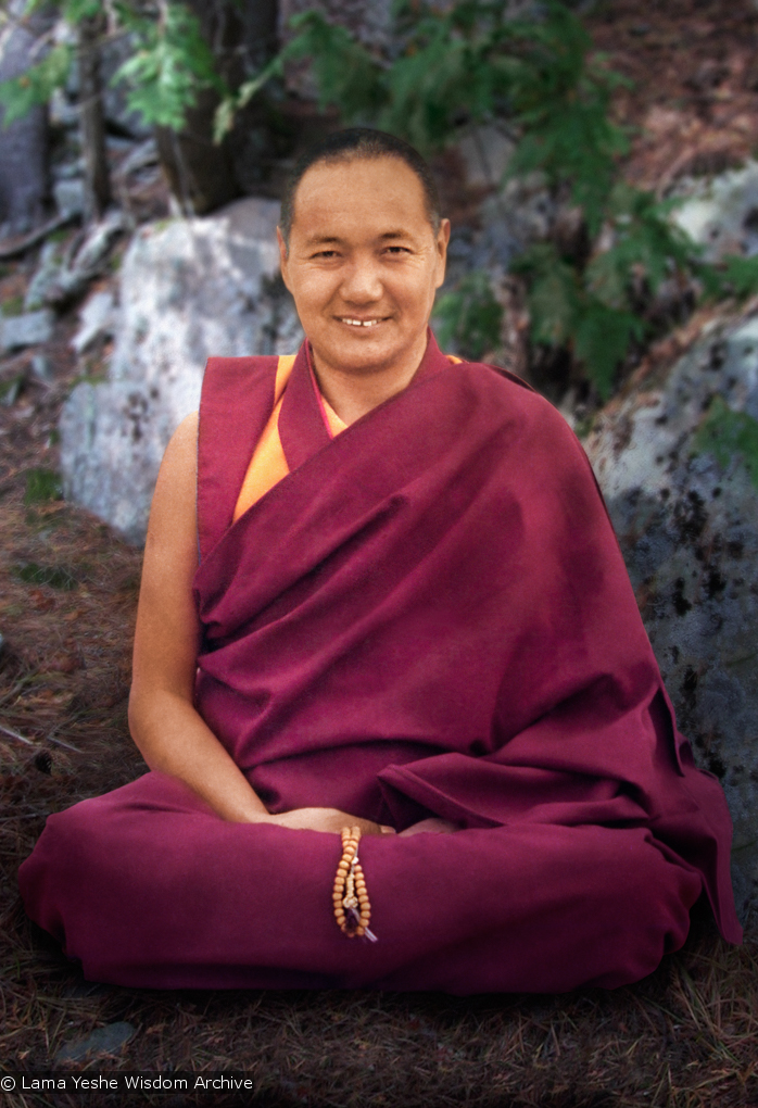 (15125_pr.psd) Lama Yeshe, Chenrezig Institute, Australia, 1975. Photo by Tony Duff, retouching by David Zinn.
