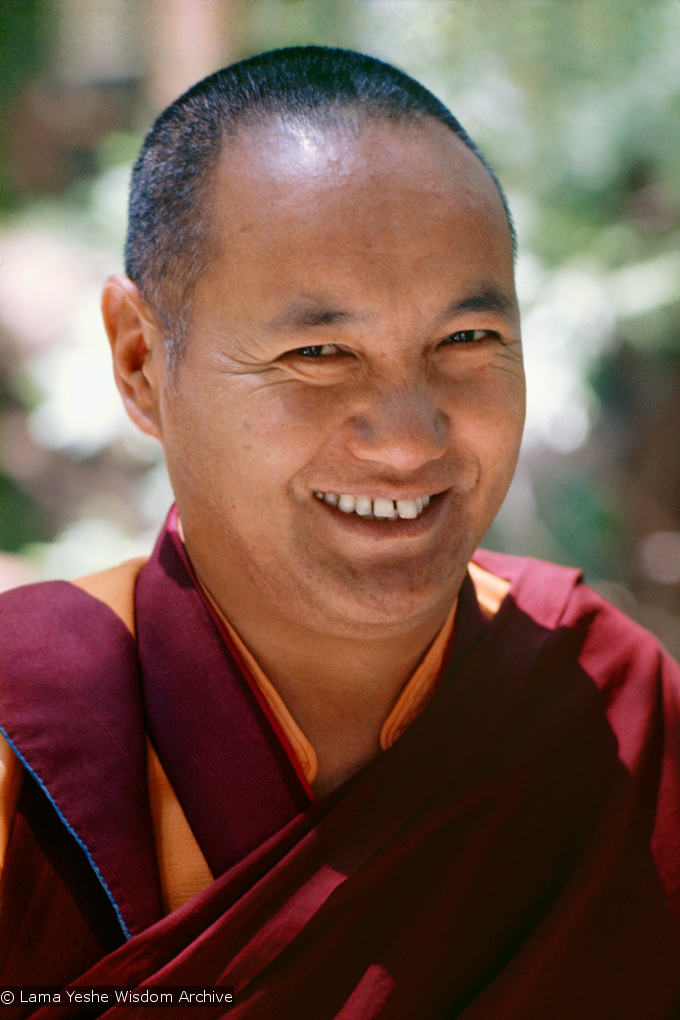 (15126_sl.psd) Lama Yeshe, Lake Arrowhead, 1975. This photo is from a three week retreat the lamas taught at Camp Arrowpines on Lake Arrowhead, east of Los Angeles, USA, 1975. Photo by Carol Royce-Wilder.
