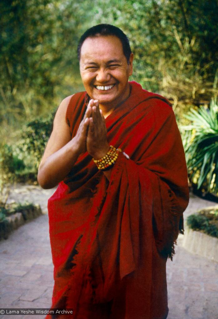 (15130_pr.psd) Lama Yeshe, Kopan Monastery, Nepal, 1981. Photo by Merry Colony, restoration by David Zinn.