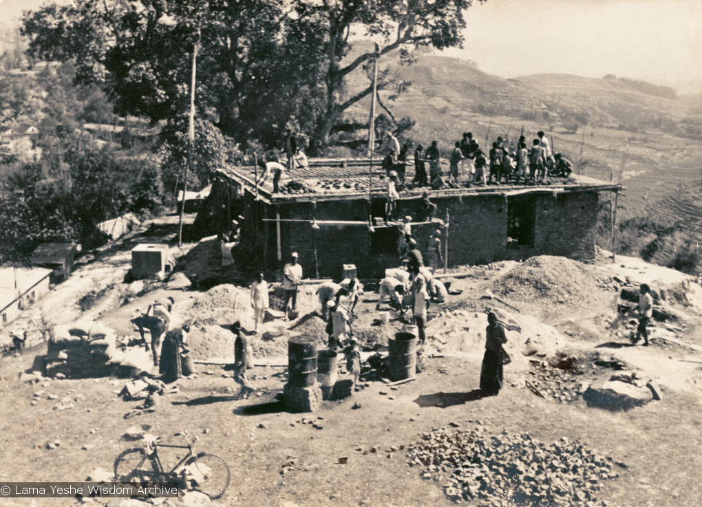 (15138_ng.psd) The construction of Kopan, first floor, rear view, 1972. Kopan Monastery, built in Nepal, is the first major teaching center founded by Lama Yeshe and Lama Zopa Rinpoche.