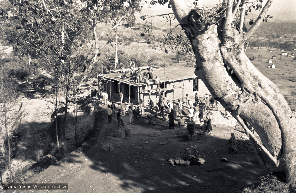 (15139_ng.psd) The construction of Kopan, first floor, rear view, 1972. Kopan Monastery, built in Nepal, is the first major teaching center founded by Lama Yeshe and Lama Zopa Rinpoche.