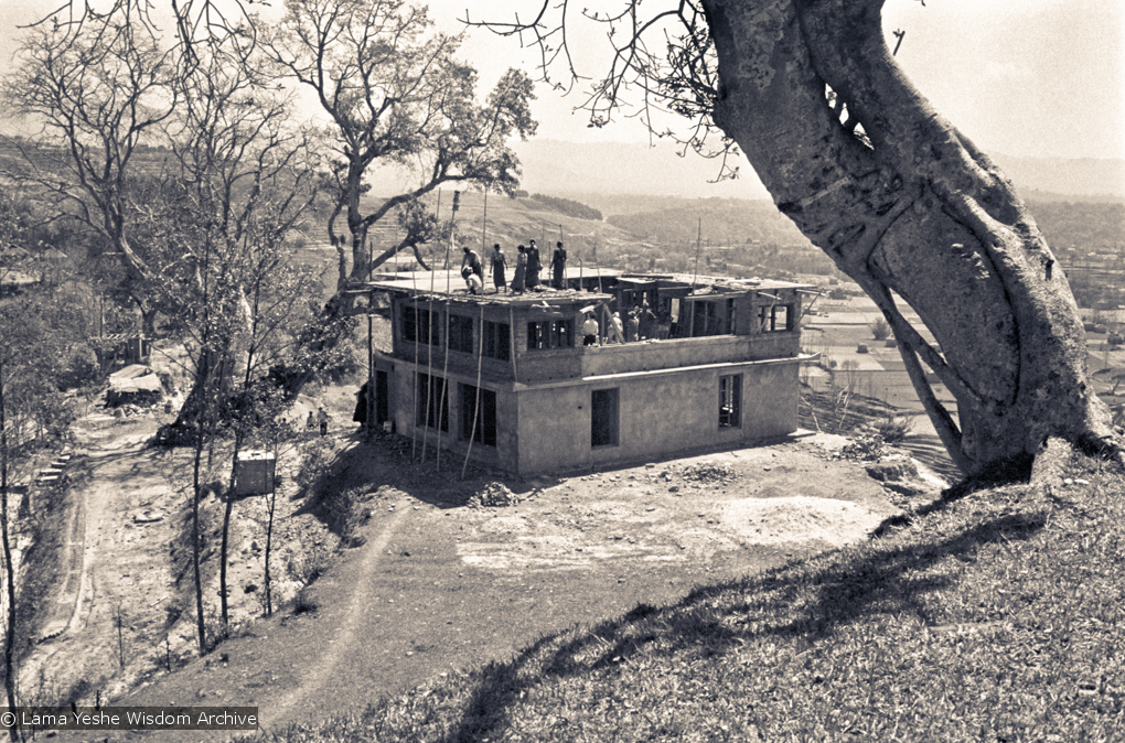 (15141_ng.psd) The construction of Kopan, second floor in progress, rear view, 1972. Kopan Monastery, built in Nepal, is the first major teaching center founded by Lama Yeshe and Lama Zopa Rinpoche.