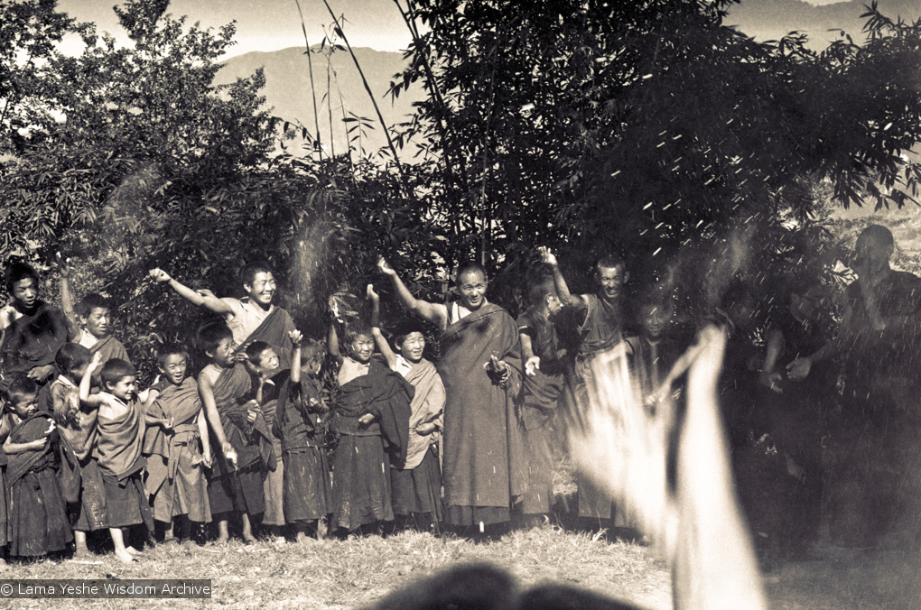 (15154_ng.psd) Lama Yeshe leading a Dharma celebration at Kopan along with the Mount Everest Center students, 1972.