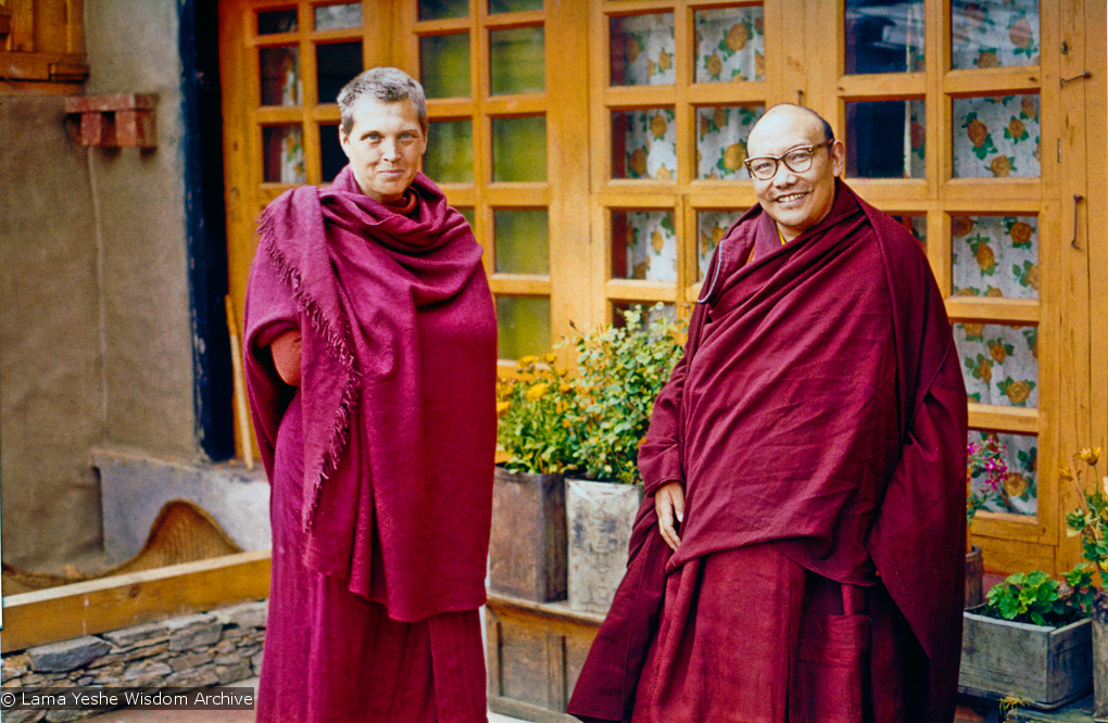 (15176_pr.psd) Trulshik Rinpoche, whom Zina Rachevsky had met on several occasions, gave permission for her to come to his monastery (Thubten Choling, in the lower Solu region of Solu Khumbu near Junbesi, Nepal) to do intensive retreat in 1972. (Photo used with permission of the estate of Zina Rachevsky.)