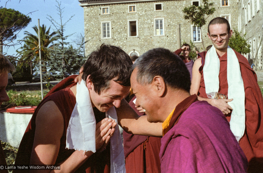 (15248_ng.tif) Lama Yeshewith Steve Carlier as Francesco Prevostilooks on. Istituto Lama Tzong Khapa, Italy, 1983. Photos donated by Merry Colony.