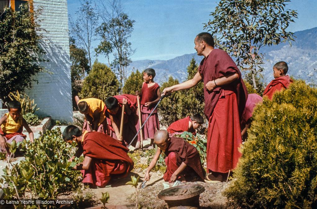 (15318_sl-3.psd) Lama Yeshe with Mount Everest Center students in the garden, Kopan Monastery, 1979.