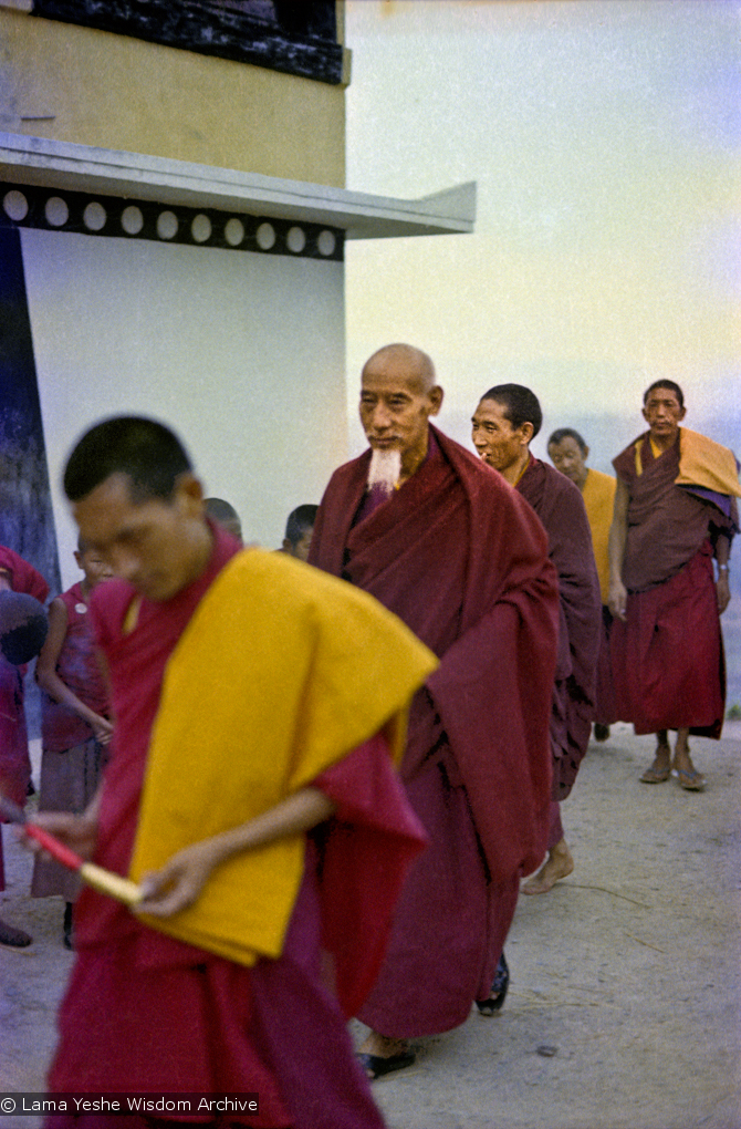 (15473_ng.psd) In April of 1974, H. H. Zong Rinpoche, a senior lama and teacher for Lama Yeshe, visited Kopan Monastery, Nepal, in time to give teachings during the last week of the Sixth Meditation Course. Lama Zopa Rinpoche is leading the procession at the left.