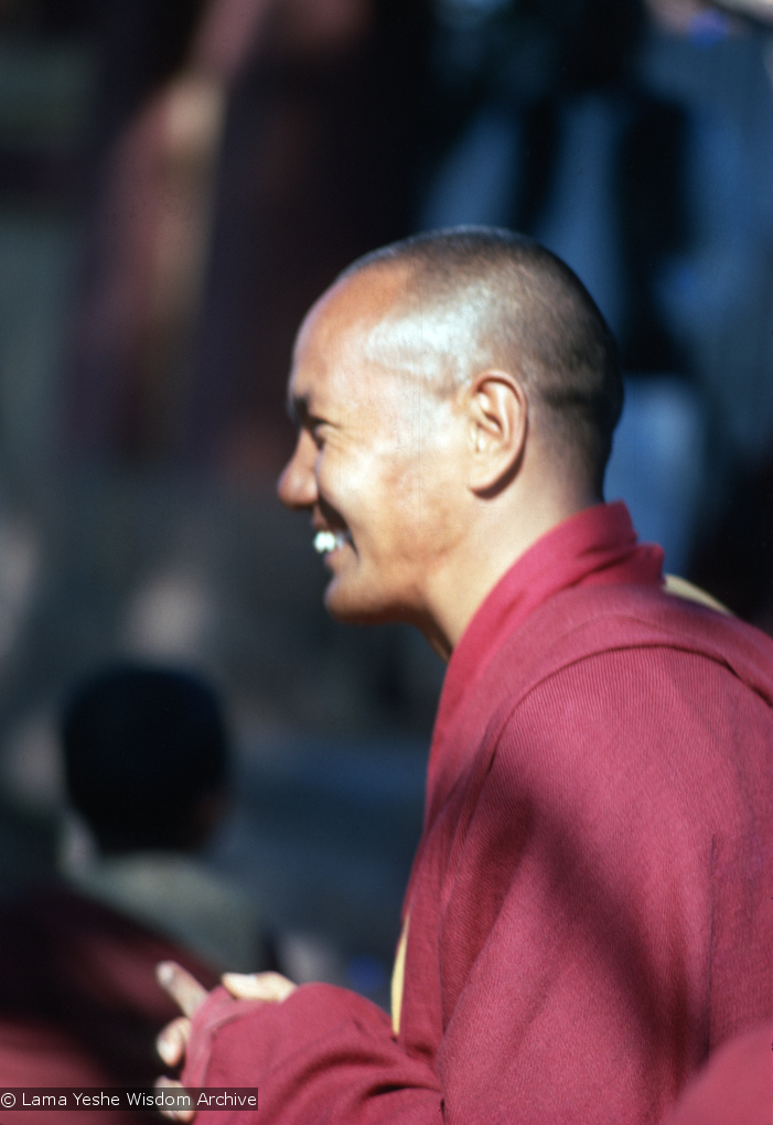 (15478_sl.tif) Lama Yeshe attending the Kalachakra empowerment in Bodhgaya, India, 1974.