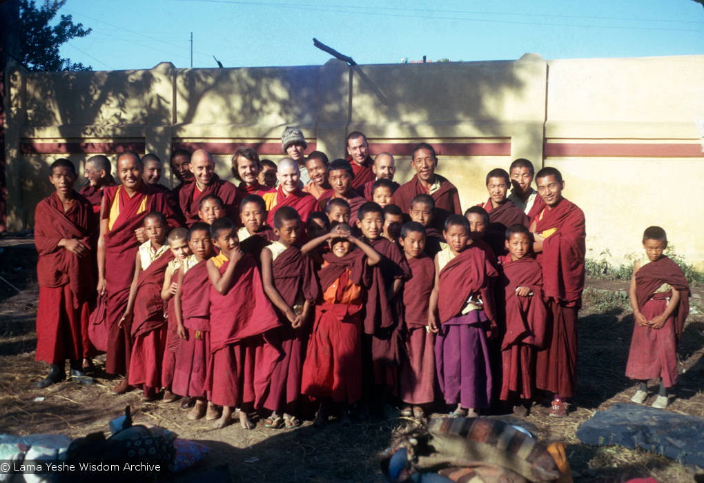 (15480_sl.psd) The lamas along with new western monks and nuns posing with the Mount Everest Center students in Bodhgaya, India, 1974. Photo includes Daja Meston (Thubten Wangchuk), Kyabje Zopa Rinpoche, Lama Yeshe, Lama Lhundrup Ringsel, Nick Ribush, Lama Pasang Tsering, Steve Malasky (Steve Pearl), and Yeshe Khadro (Marie Obst).