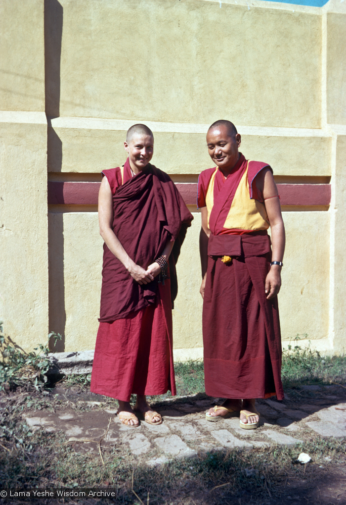(15481_sl.psd) Lama Yeshe and Yeshe Khadro (Marie Obst) after her ordination in Bodhgaya, India, 1974.