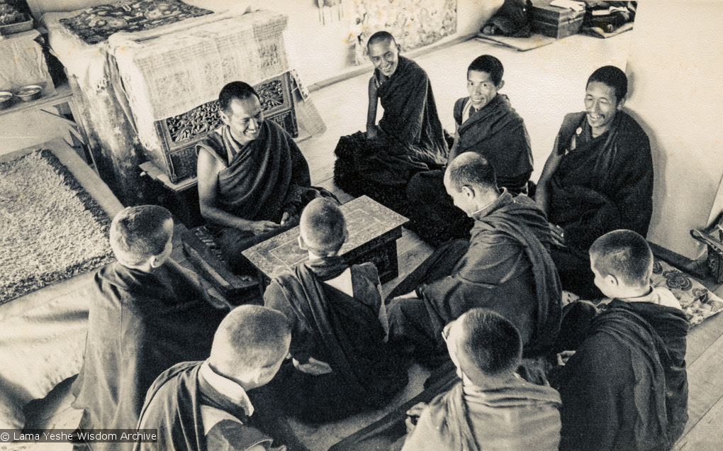 (15484_pr.psd) Lama Yeshe, Lama Zopa Rinpoche, Lama Lhundrup, and Lama Pasang with new monastics including Nick Ribush and Yeshe Khadro (Marie Obst) in the gompa (shrineroom) at Kopan Monastery, Nepal, 1974.