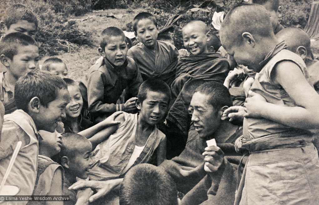 (15837_pr.psd) Lama Pasang with the Mount Everest Center students, Lawudo Retreat Center, Nepal, 1974.
