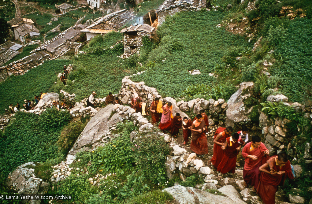 (15867_sl.psd) Mount Everest Center monks climbing up to Namche Bazaar, Nepal, 1974.