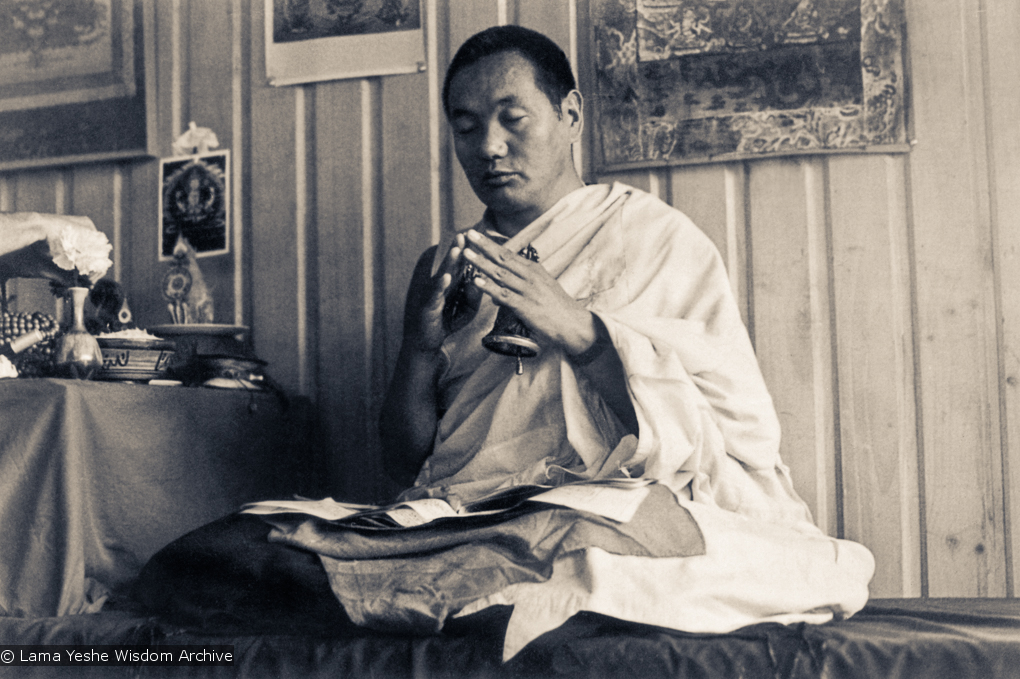 (15998_pr.psd) Lama Yeshe, New Zealand, 1975. This photo is from the two-week course the lamas gave at Waikanae near Wellington. Photo by Ecie Hursthouse.