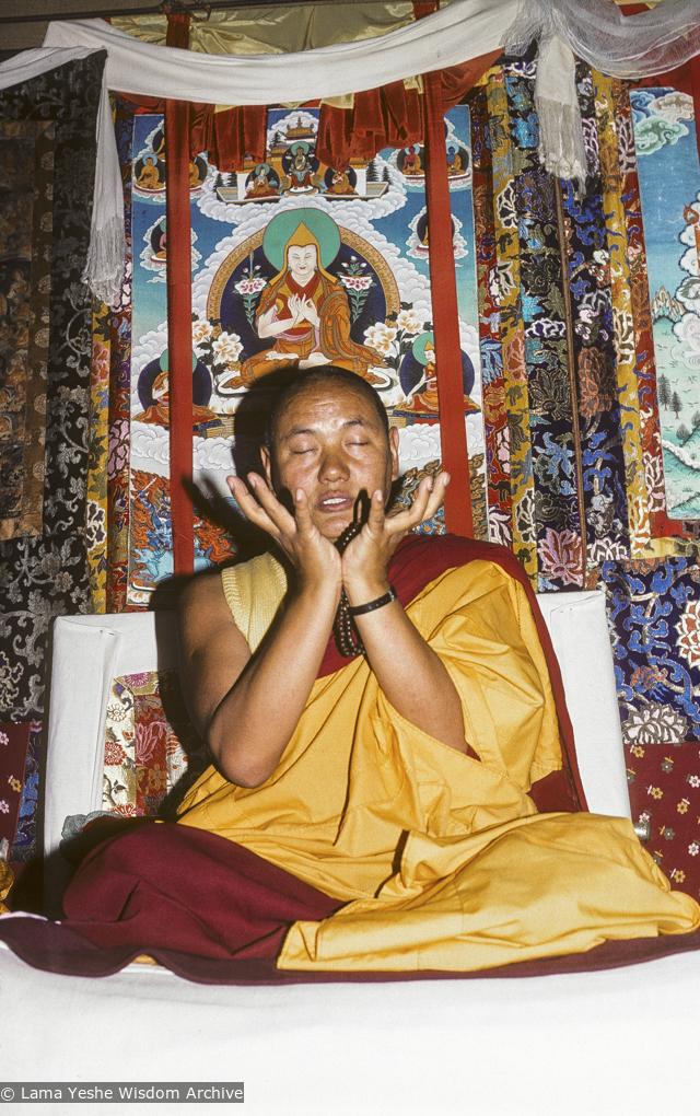 Lama Yeshe teaching at 11th Meditation course, Kopan, 1978. Photo by Robin Bath.
